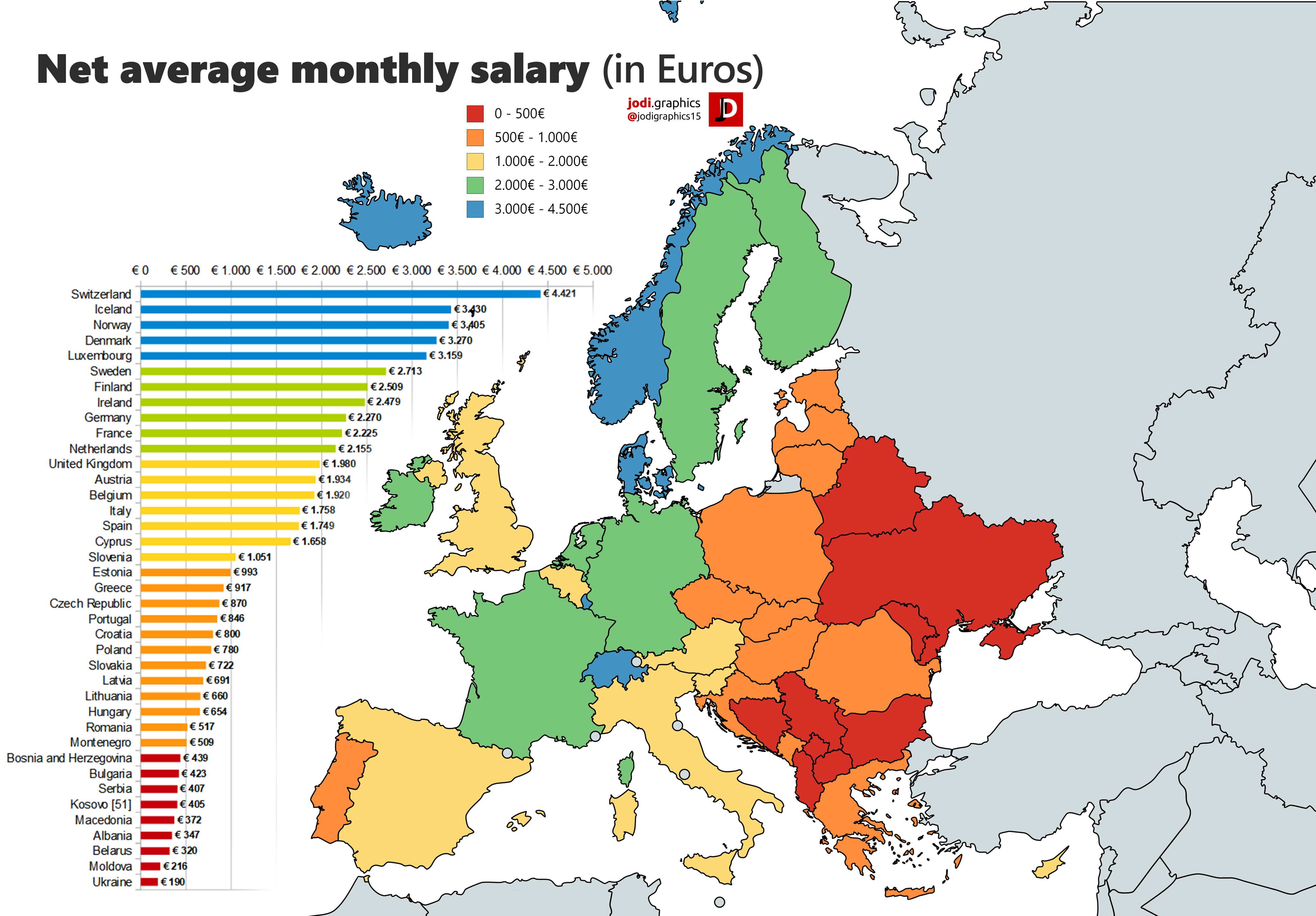 Net average monthly salary in Europe (2017) | European map ...