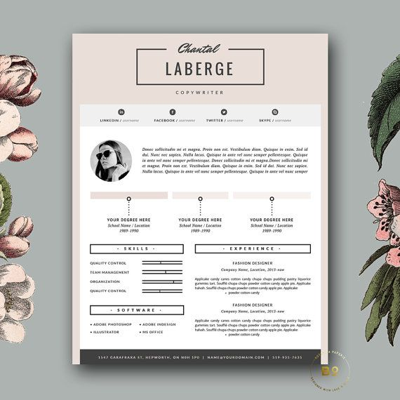 3 Page Resume Template | CV Template + Cover Letter for MS Word ...