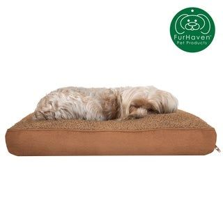 FurHaven Snuggle Terry and Suede Deluxe Pillow Pet Bed (Forest - Medium), Green