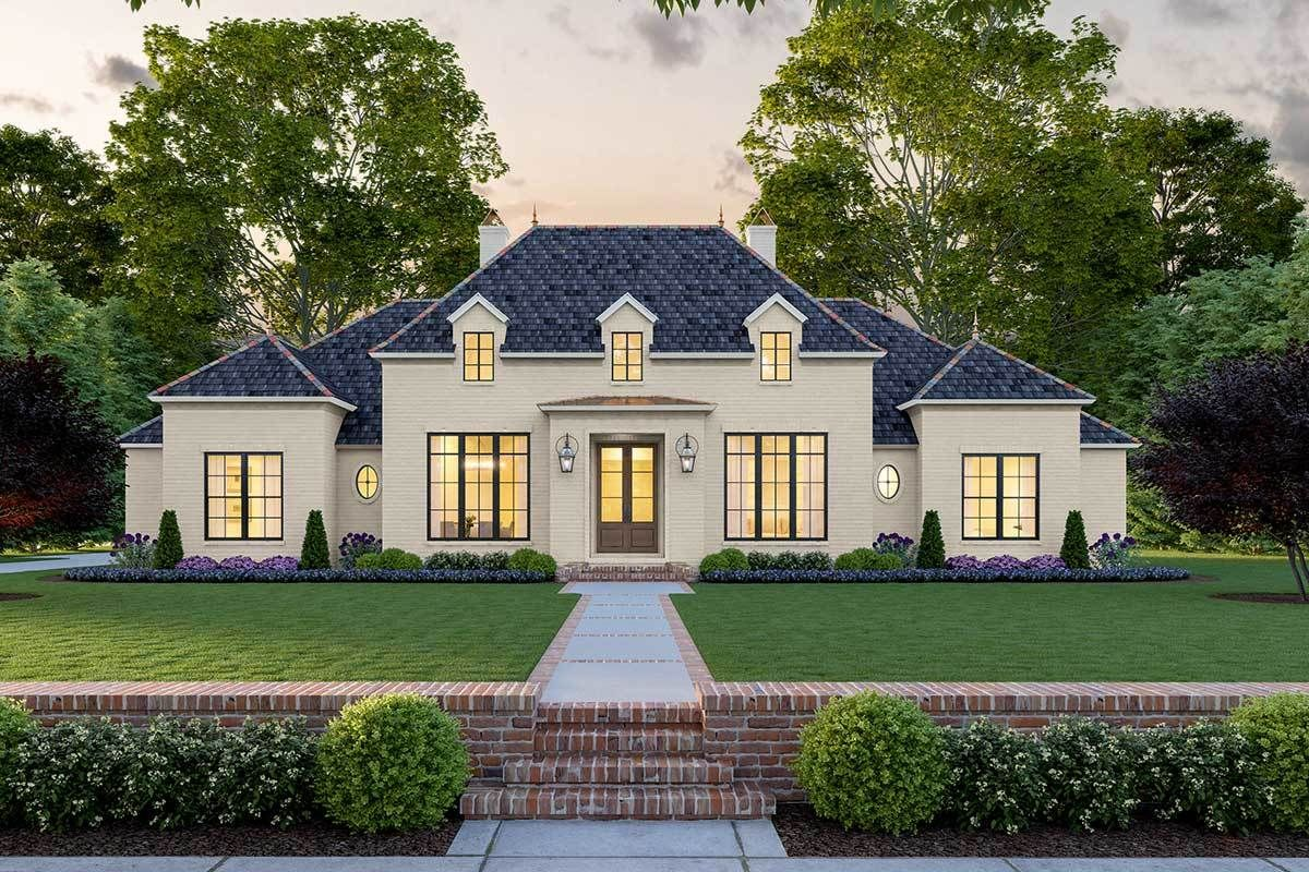 Plan 56466sm 4 Bed Classic Southern House Plan With Perfect Exterior Symmetry In 2020 Southern House Plan Southern House Plans French House Plans
