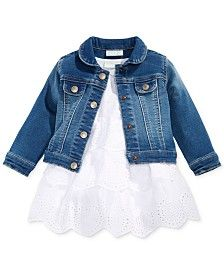 First Impressions Denim Jacket & Tiered Dress, Baby Girls (0-24 months), Only at Macy's