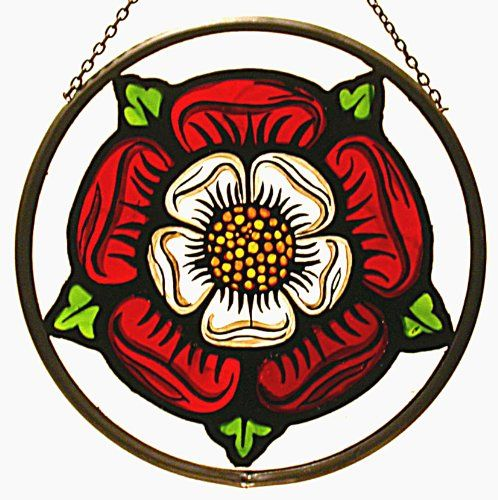 Stained Glass Yorkshire White Rose Wall Sign Suncatcher//Gift//Home Decoration