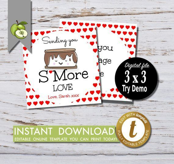 Photo of SMORE love Valentine gift tag, SMore gift tag, party, friends gift tag, editable…