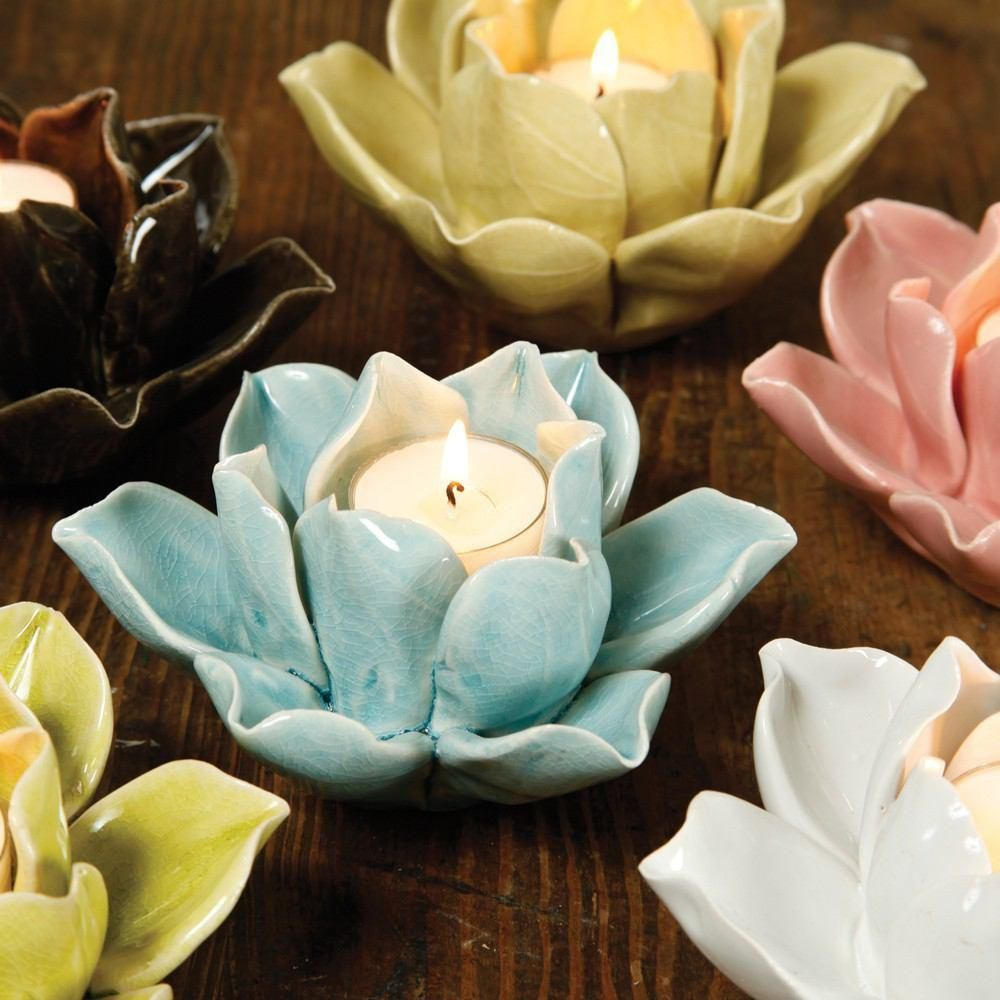 HomArt Lotus Tea Light Holders are true works of art. Each lovely, simple flower is hand-crafted by HomArt artisans; each petal, hand-formed. Then each ceramic piece is given a hand-applied color glaze and a carefully crackled finish. So while they a Brand: HomArt Product Description HomArt Lotus Tea Light Holder - Green • Product Dimensions: 5