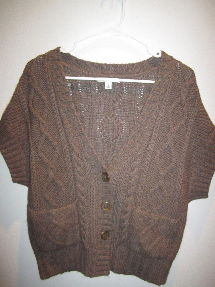 BANANA REPUBLIC Women's Brown Knit Button Up Short Sleeve Sweater ...