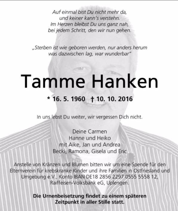 Die Traueranzeige für Tamme Hanken