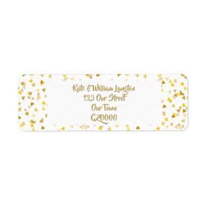 Golden Hearts Confetti Label Cool Gift Ideascool Giftsreturn Address
