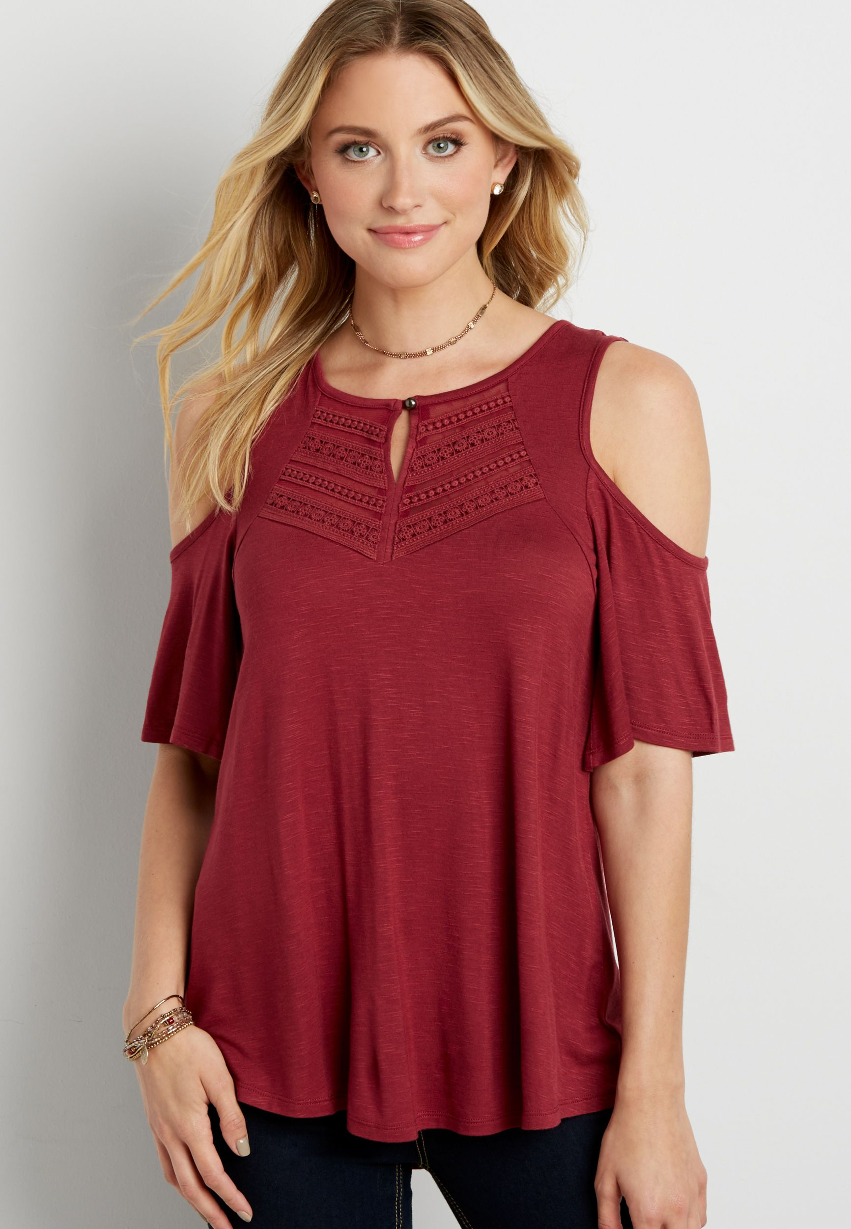 MEDIUM OR LARGE cold shoulder tee with crocheted yoke overlay (original  price, $24.99)
