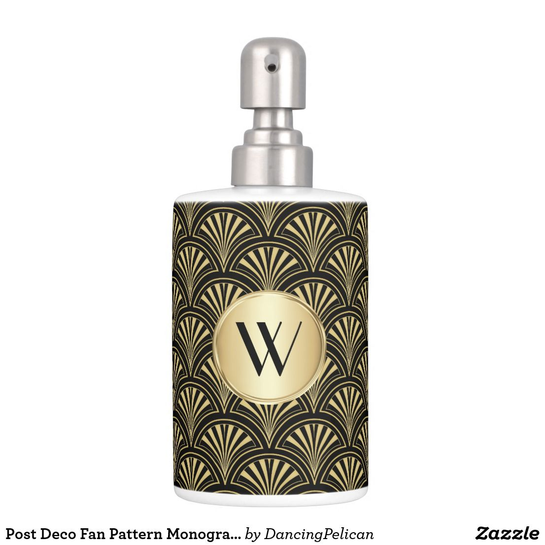 Post Deco Fan Pattern Monogrammed Soap Dispenser And Toothbrush ...