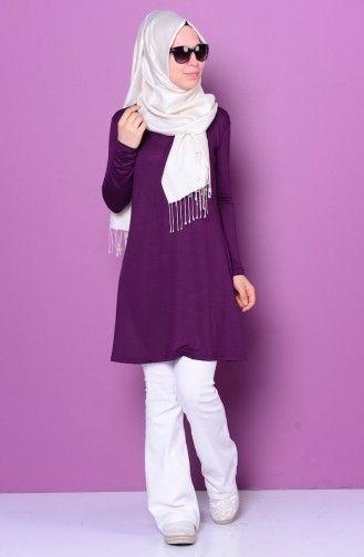 Sefamerve Sefamerve Basic Tesettur Penye 0728 02 Mor Islami Giyim Moda Stilleri Tunik