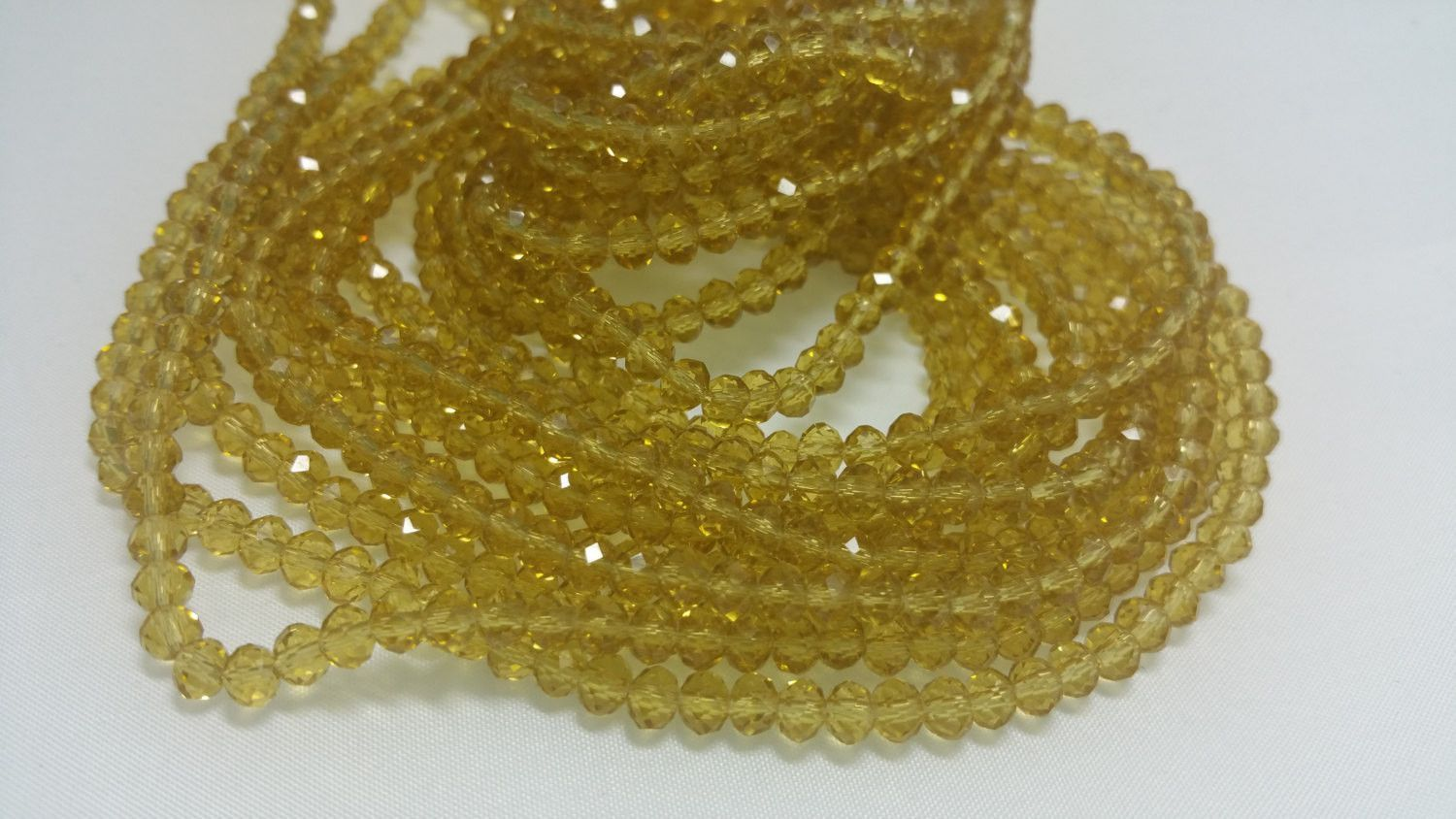 1 Bead Strand - 3x4mm Yellow Rondelle Glass Crystal Beads BD0007