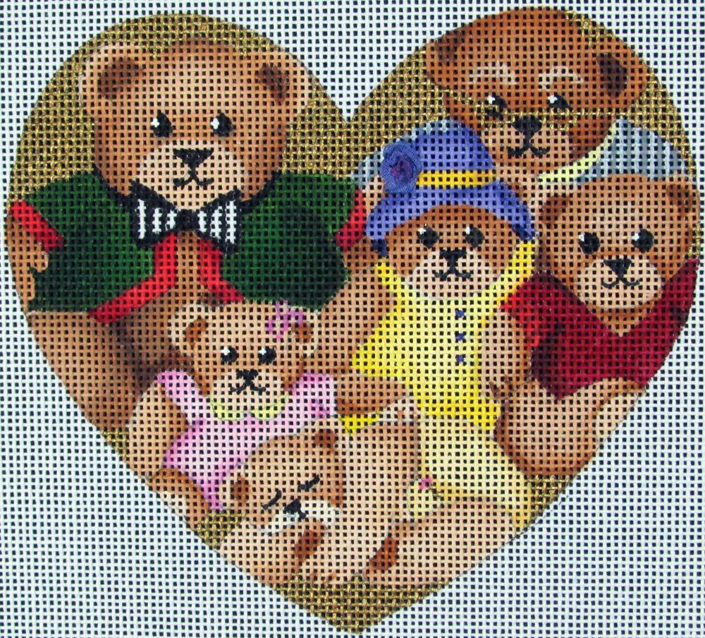 HP Needlepoint 18ct DEDE'S NEEDLEWORKS Teddy Bears in Heart Shape -GA12 #Handpainted
