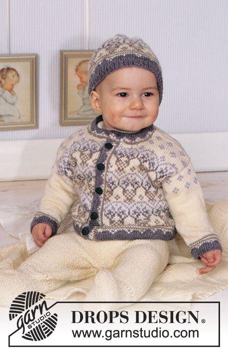 09732cd72 DROPS Baby 11-6 - DROPS Kofta och mössa med Nordisk norskt mönster i ...