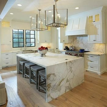 32 Trendy And Chic Waterfall Countertop Ideas Modern Kitchen Island Modern Kitchen Design Home Decor Kitchen