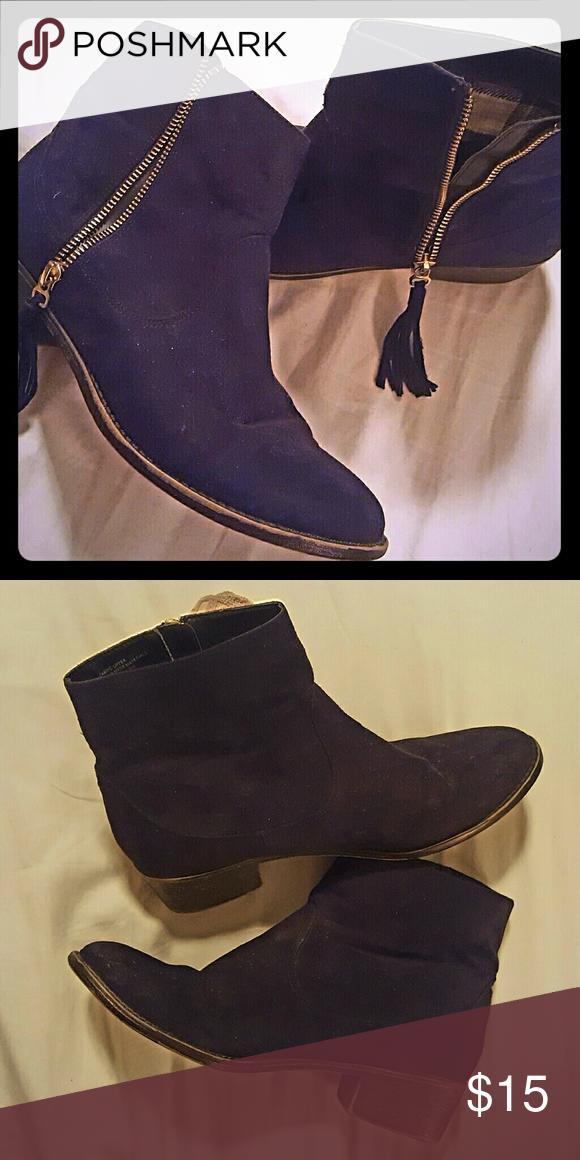 Suede booties with tassel zipper Suede booties with tassel zipper. Diba Shoes Ankle Boots & Booties