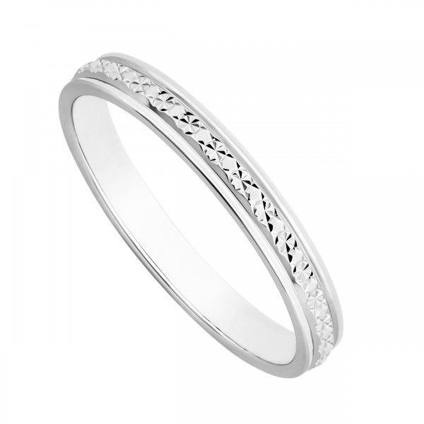 Ladies 9ct White Gold One Row Sparkle Cut Wedding Ring