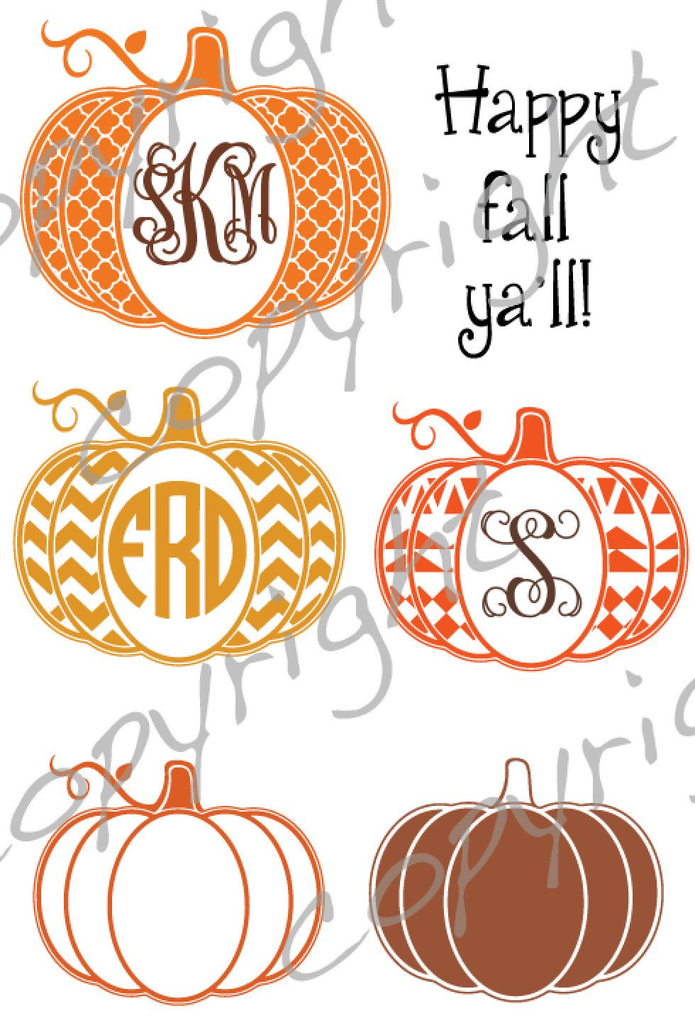Pumpkin cut file with place for monogram Chevron aztec by