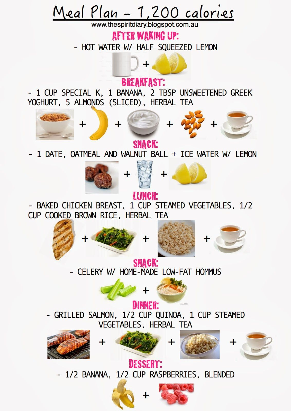 Meal Plan: 1,200 calories (summer) - The Spirit Diary Weight Loss Meal Plan