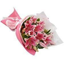 Hand Held Lilies Oriental Lilies Bouquet Oriental Lily Diwali Flowers
