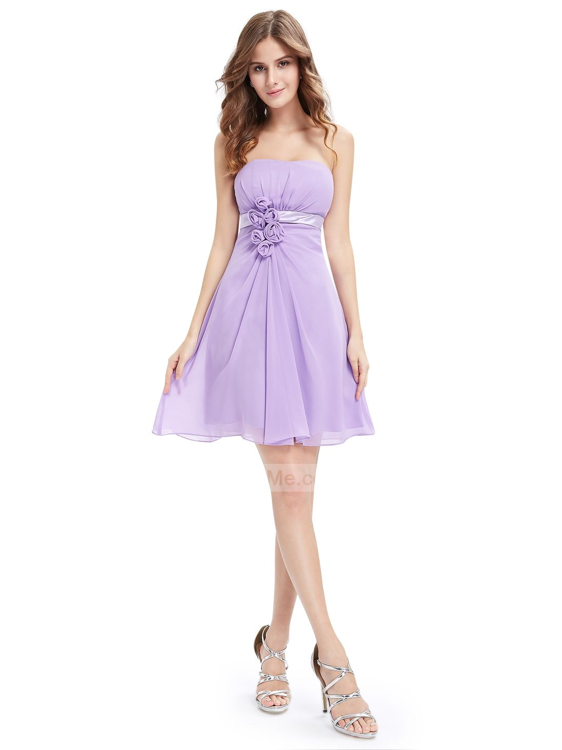 Lilac chiffon popular scoop neck empire waist a line short prom