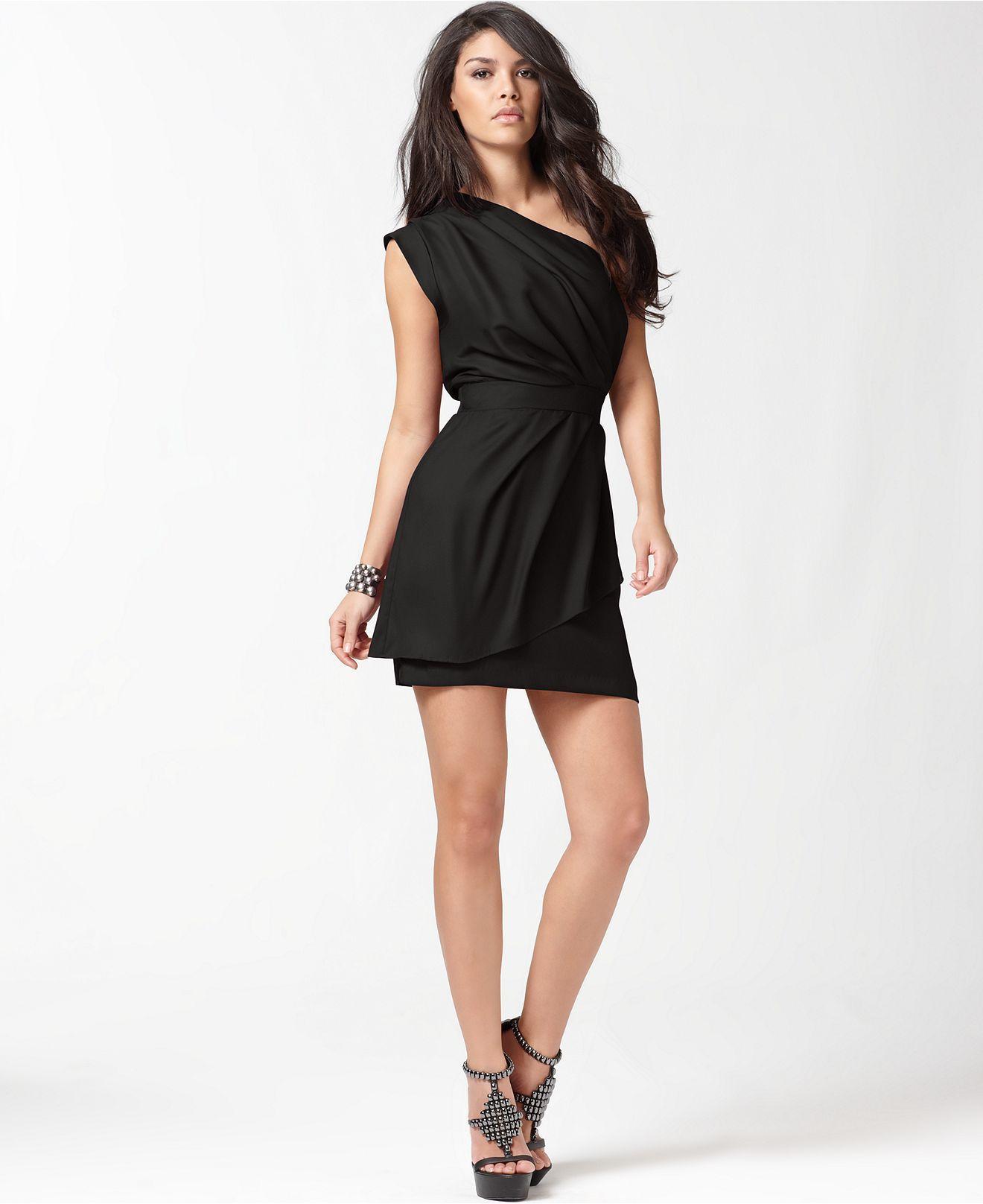 BCBGeneration one-shoulder, layered pleated black dress $118