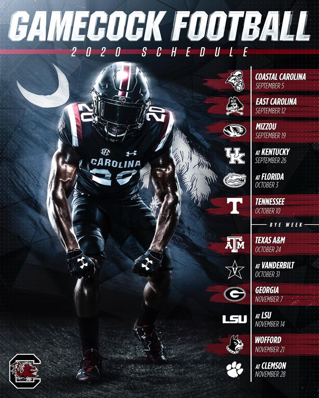 Gamecock Football On Instagram The 2020 Schedule Is Here Gamecocks Football Gamecocks Carolina Football