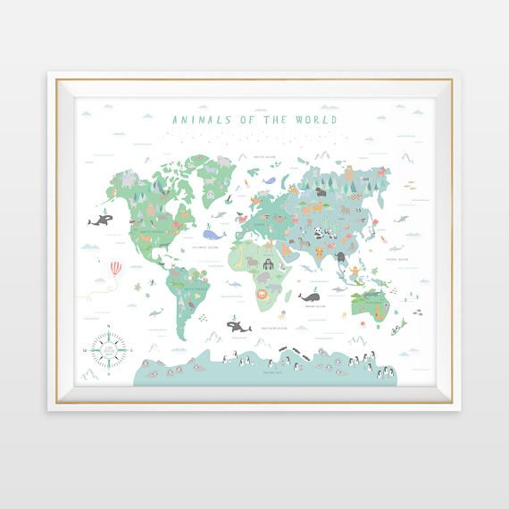 Animal world map world map nursery art my first map map of the animal world map world map nursery art my first map map of the world world map animals of the world gender neutral decor modern map gumiabroncs Images