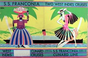 SS Franconia West Indies Cunard Cruises - original 1929 vintage travel poster by Louis Fraucher listed on AntikBar.co.uk
