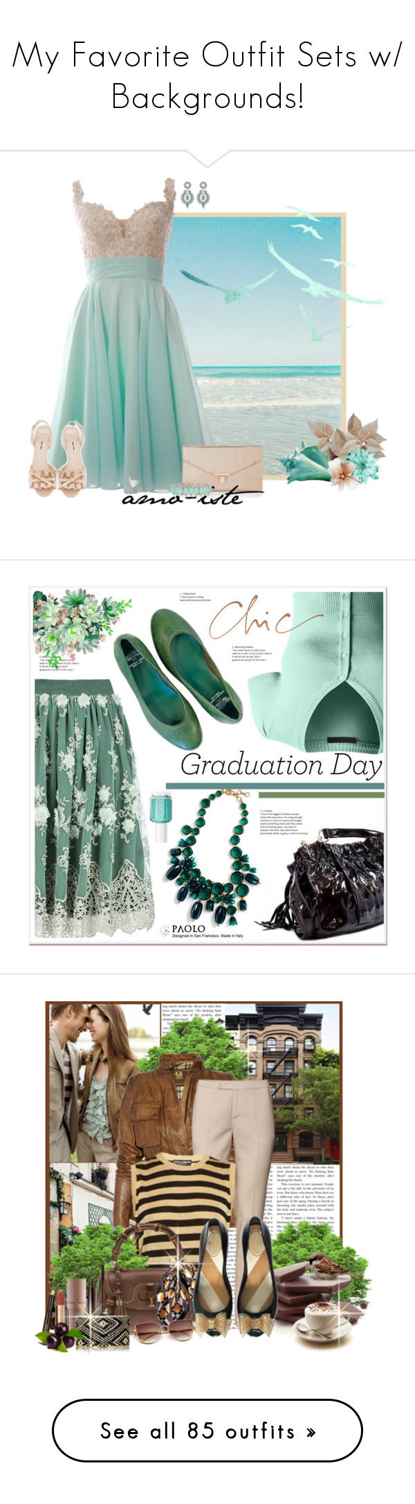 """""""My Favorite Outfit Sets w/ Backgrounds!"""" by vahrendsen1988 ❤ liked on Polyvore featuring Accessorize, Charlotte Russe, Miu Miu, Ezgi Cinar, LE3NO, J.Crew, Graduation, Banana Republic, Belstaff and H&M"""