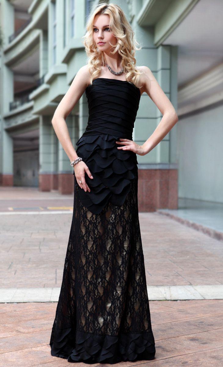 Sleek black slimming strapless prom dress my style pinterest