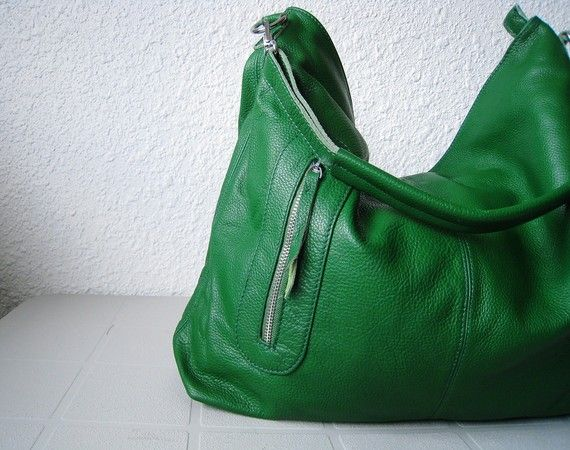 Leather hobo, leather crossbody bag | Cross body bags, Green bag ...