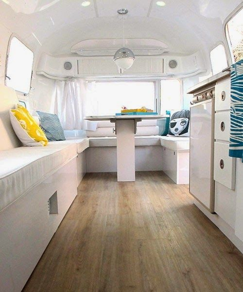 Chic interior of a Airstreat - why buying a motorhome is not just for oldies - love to live on the road