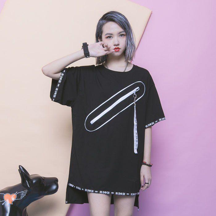 Harajuku Fashion Zipper Loose long T-shirt SD00827