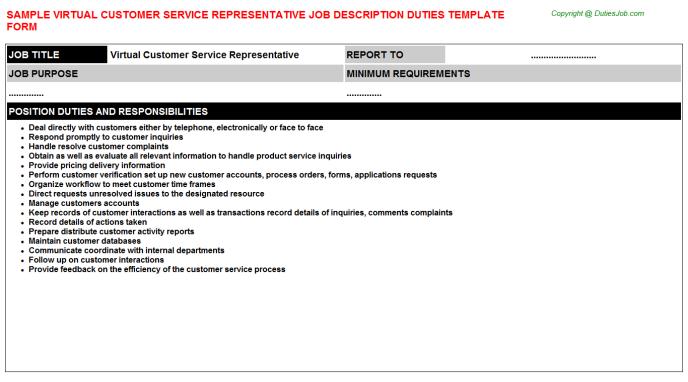 Virtual Customer Service Representative Job Description  Resume