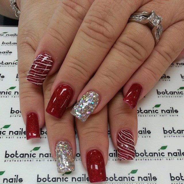 26 Red And Silver Glitter Nail Art Designs Ideas: Red And White Sparkle