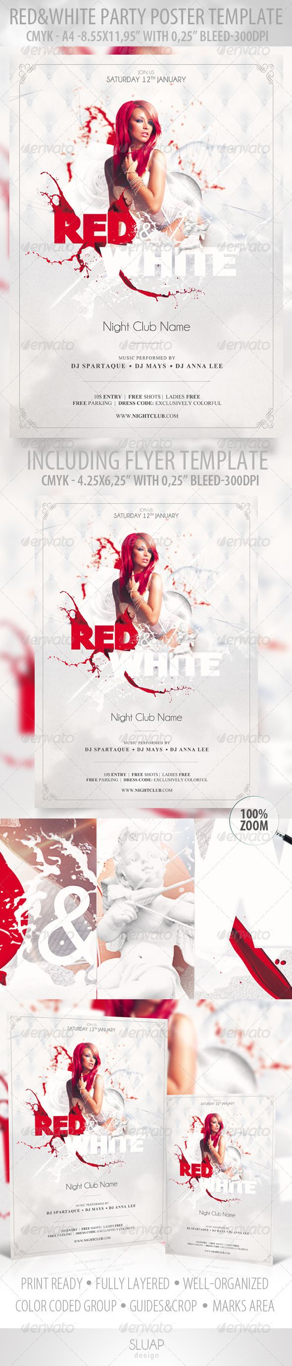 Red  White  Poster Template  Red  White  Flye  Template