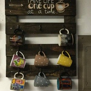 Customized Coffee Mug Rack, Personalized Coffee Cup Rack, Rustic Coffee Rack, Coffee Rack, Coffee Mug Rack, Coffee Cup Holder, Cup Rack