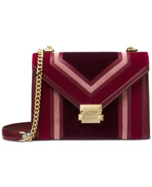 60f8bd6e4ab8 Michael Michael Kors Whitney Tricolor Velvet Shoulder Bag - Red ...