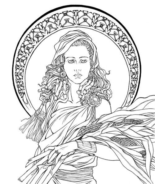 Elaphos Art Nouveau Demeter By Aesyria Coloring Pages