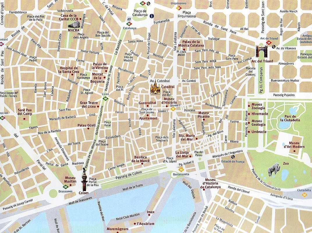 Barcelona City Map Printable – Map Of Barcelona Tourist Attractions