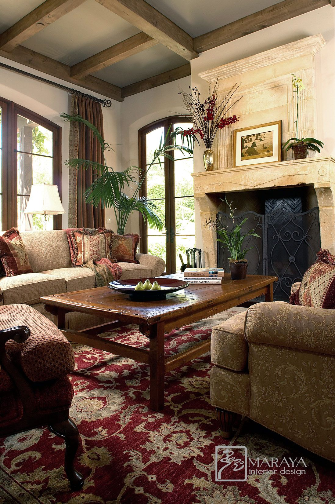 Santa Barbara Italian Old World Style Living Room  Tuscan living