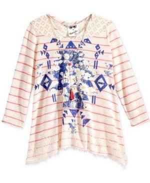 Belle Du Jour Lace-Trim Graphic-Print Top & Necklace, Big Girls (7-16) - Pink XL