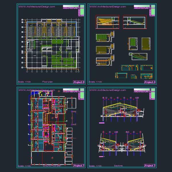 Cinema Architecture Design A Collection Of 11 Cinema Building Designs Autocad Drawings Architecture For Design Cinema Architecture Architecture Design Building Design