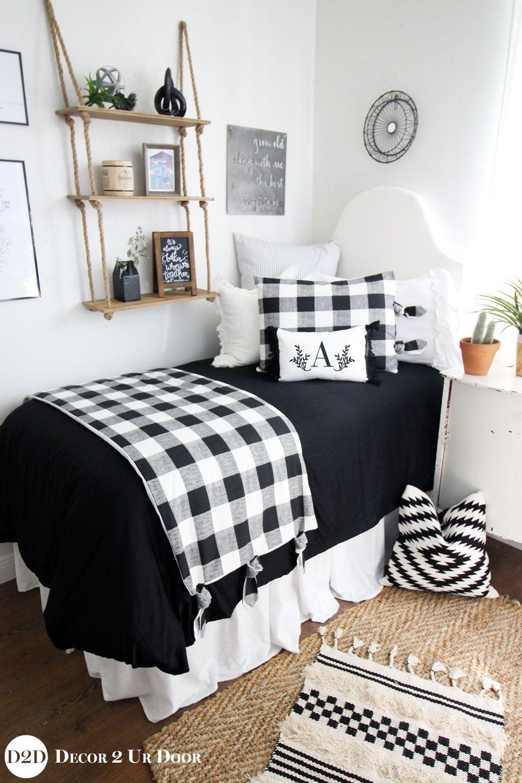Farmhouse black white gingham dorm bedding set dorm room