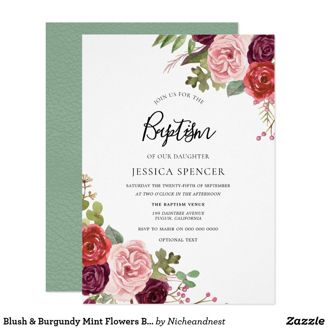 Blush & Burgundy Mint Flowers Baptism Invitation Zazzle