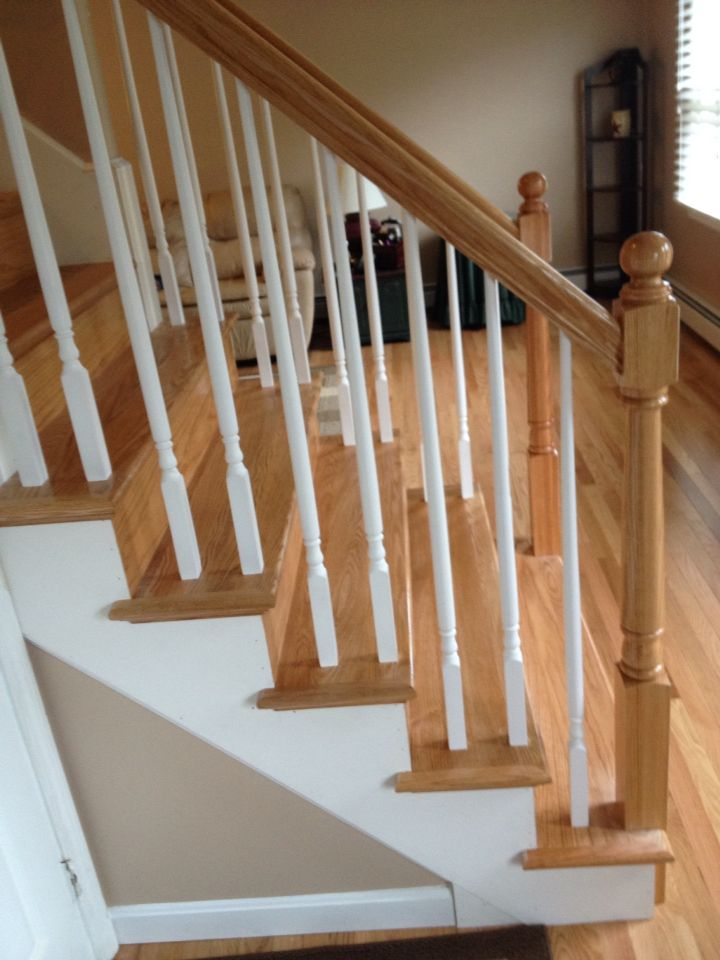 Cranston Ri Rhode Island Staircase Design Handrail Design | Hardwood Stairs With White Risers | Pine | Tread | Trim | Hardwood Flooring | Before And After