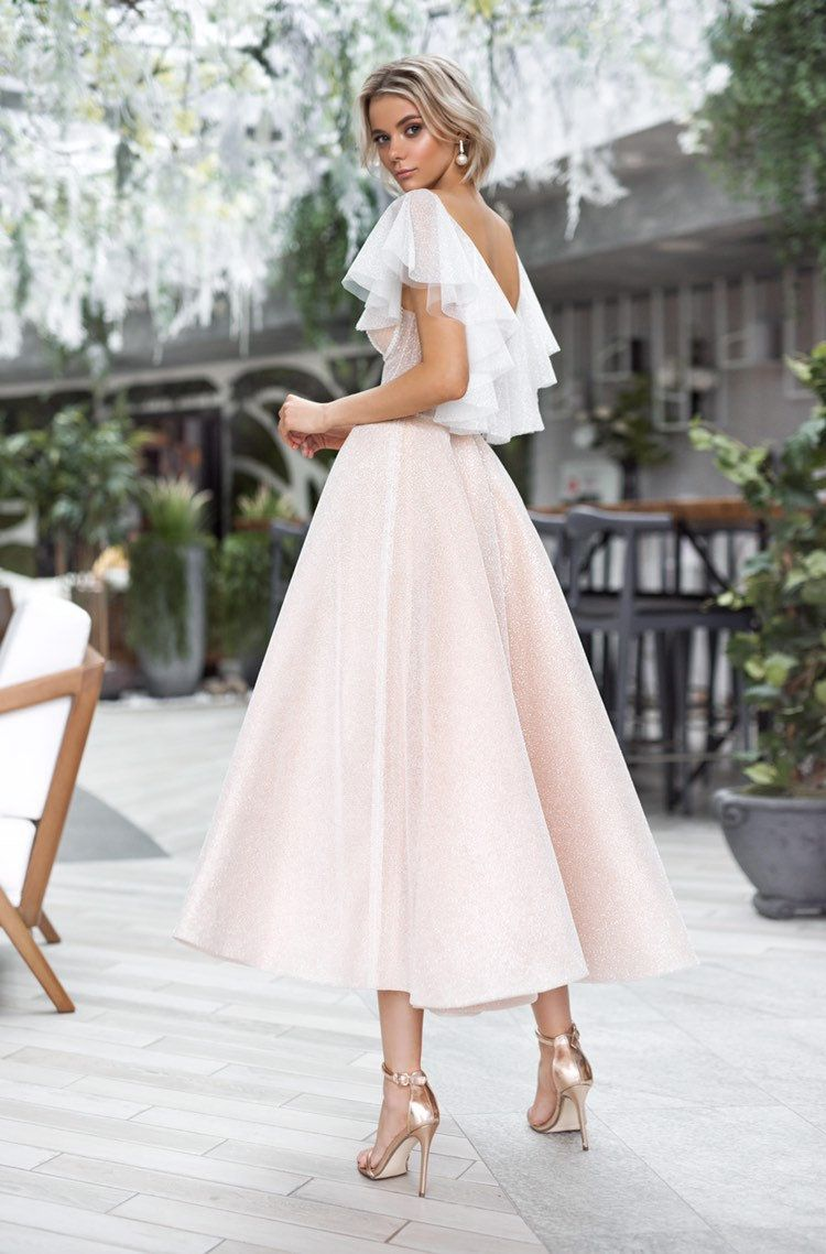 Short boho wedding dress beach simple modern short mini sleeves stylish open corset tulle high-low dress boho wedding gown ivory blush light -   18 dress Midi wedding ideas