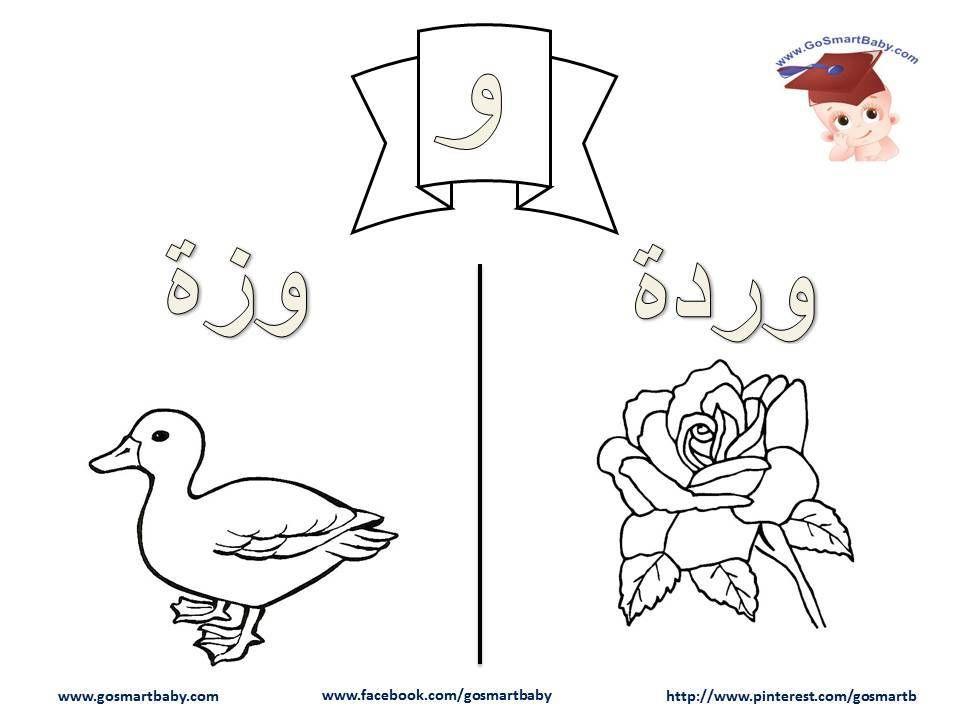 Smart Baby تلوين الحروف العربية حرف الواو و Arabic Alphabet Cartoon Coloring Pages Lettering Alphabet