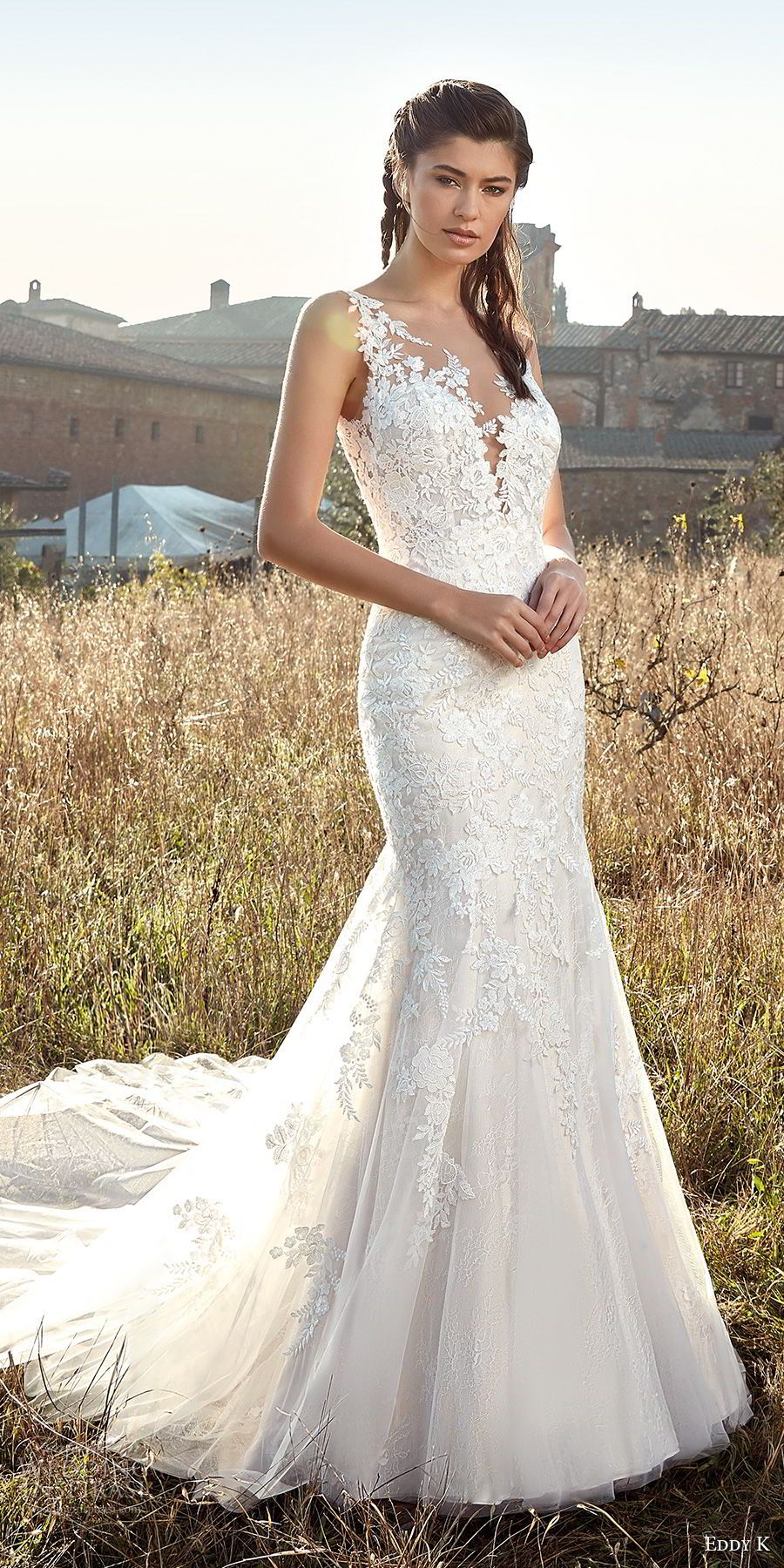 95e613f6dc9 eddy k 2019 ek sleeveless deep plunging sweetheart neckline heavily  embellished bodice elegant mermaid wedding dress chapel train (7) mv --  Eddy K. 2019 ...