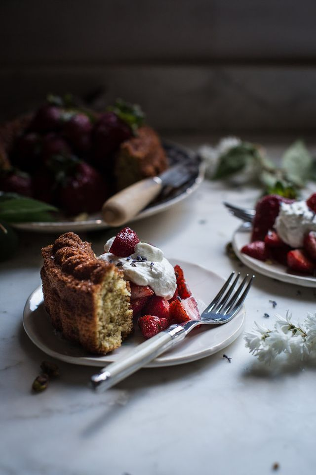"pistachio pound cake + lavender sugar strawberries from ""sweeter off the vine"""
